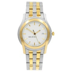 Gucci 5500 XL Two-Tone Steel White Sticks Dial Quartz Men's Watch YA055216
