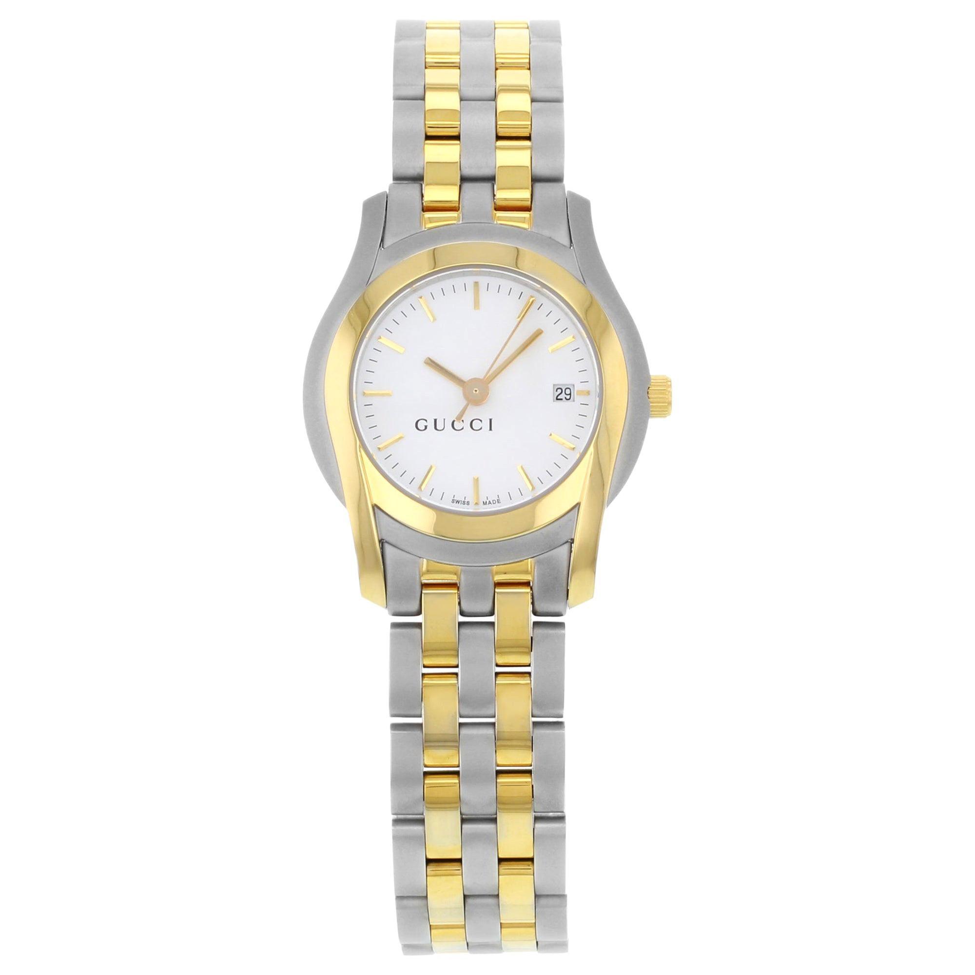 Gucci 5500L Gold Tone Stainless Steel White Dial Quartz Ladies Watch YA055528