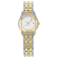 Gucci 5500L Gold Tone Stainless Steel White Dial Quartz Ladies Watch YA055528