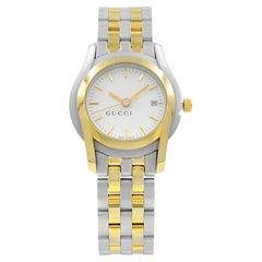 Gucci 5500L White Dial Steel Gold Tone Plated Quartz Ladies Watch YA055528