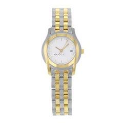 Gucci 5500L White Dial Two-Tone Stainless Steel Quartz Ladies Watch YA055528