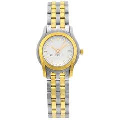 Gucci 5500L White Sticks Dial Gold Tone Steel Quartz Ladies Watch YA055528