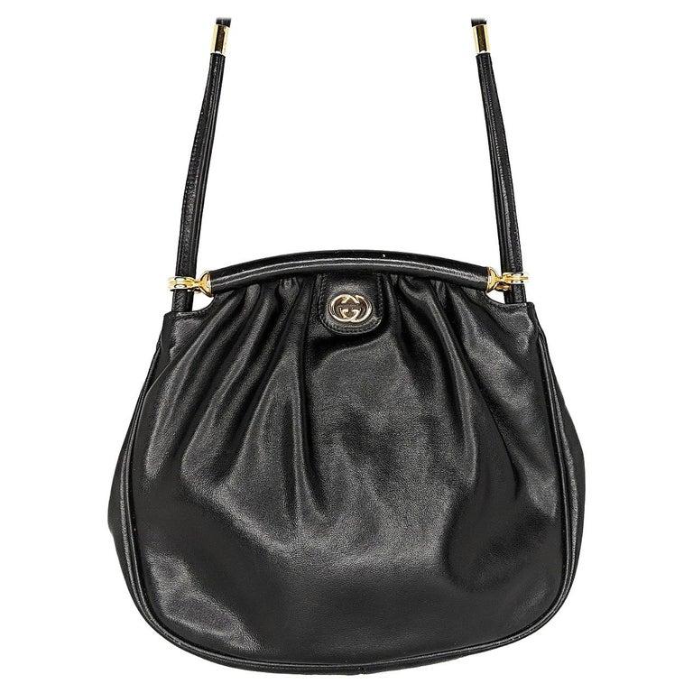 Gucci 70s Vintage Black Leather Interlocking G Shoulder Bag For Sale