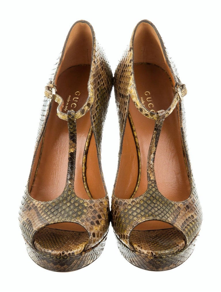 New Gucci 90th Anniversary Ad Runway Python Snakeskin Pump Heels Sz 37  For Sale 2