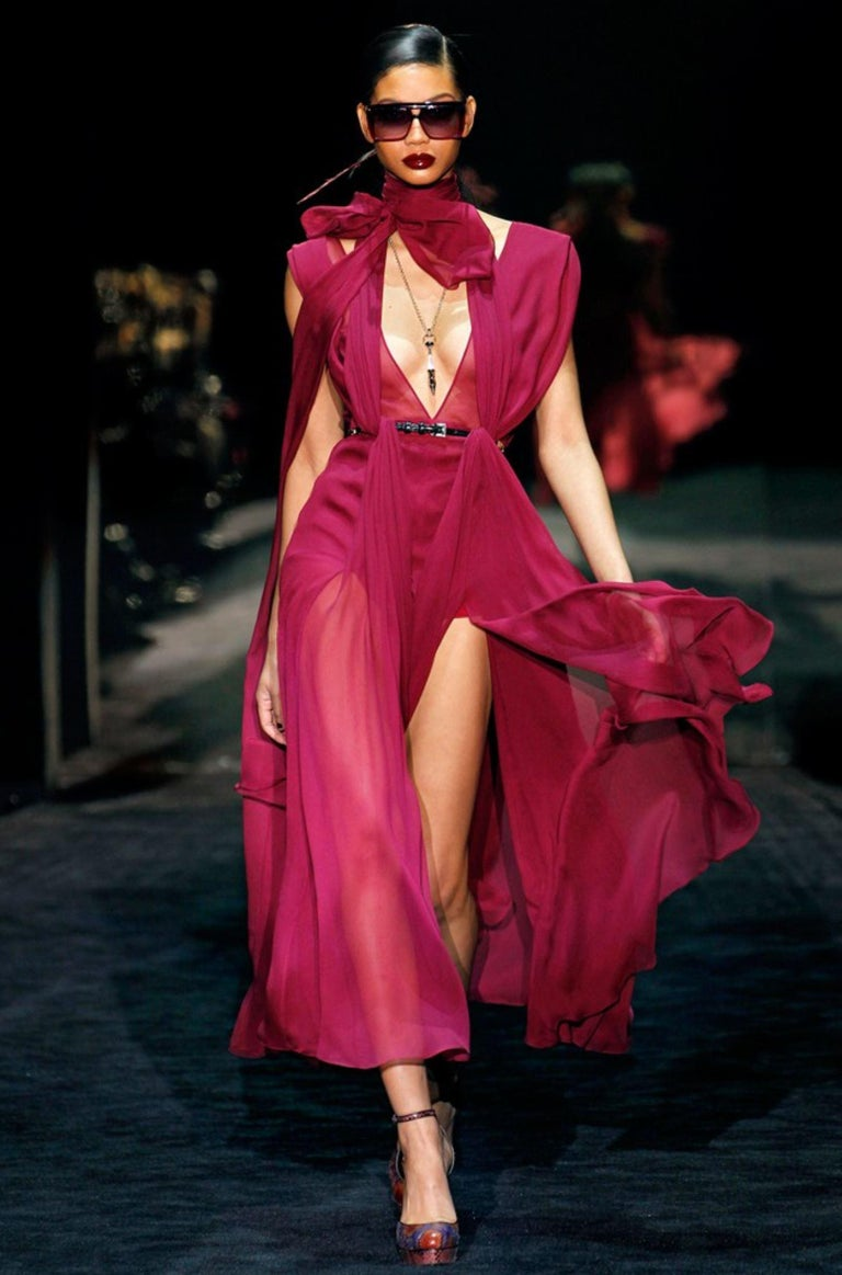 Gucci  Worn One Time  Uppers are Perfect.  Very Minimal Markings to Soles Only From Gucci's 90th anniversary Fall Runway show,  Frida Giannini cited her influence was Anjelica Huston $2425 * Python Heels * Rare Ad Runway Heels  * Size: 37.5 * Purple