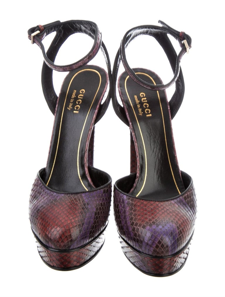 Gucci 90th Anniversary Ad Runway Python Skakeskin Pump Heels Sz 37.5   $2425 For Sale 4