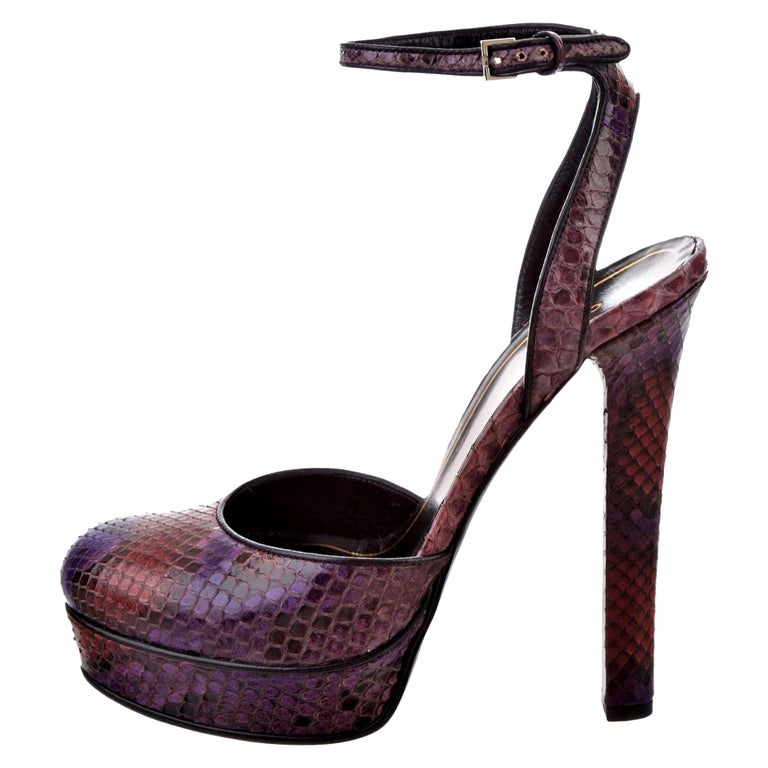Gucci 90th Anniversary Ad Runway Python Skakeskin Pump Heels Sz 37.5   $2425 For Sale