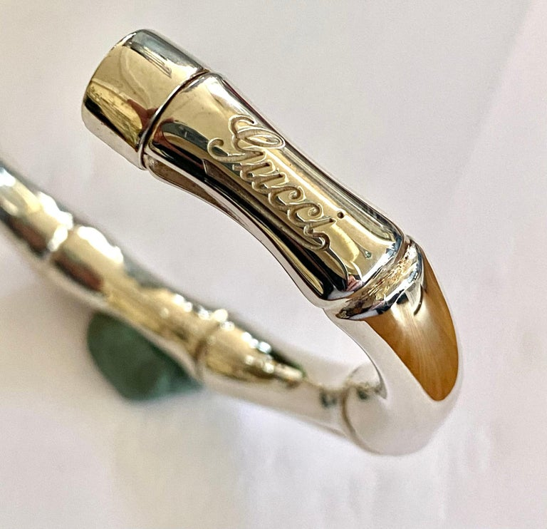 Gucci, 925-/ Silver Bangle, Model Bamboo In New Condition In Heerlen, NL