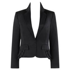 GUCCI A/W 2003 Black Notched Lapel Knife Pleated Mock Bustle Blazer