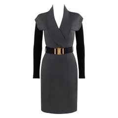 GUCCI A/W 2009 Gray Surplice Neckline Sheath Belted Shawl Fold Dress