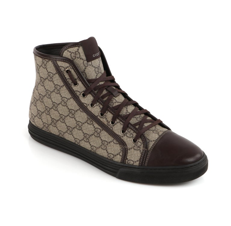 """GUCCI A/W 2012 """"California"""" GG Guccissima Brown Monogram Canvas High Top Sneakers    Brand / Manufacturer: Gucci  Collection: Autumn / Winter 2012  Manufacturer Style Name: California High Top  Style: High Top Sneakers Color(s): Brown, tan,"""