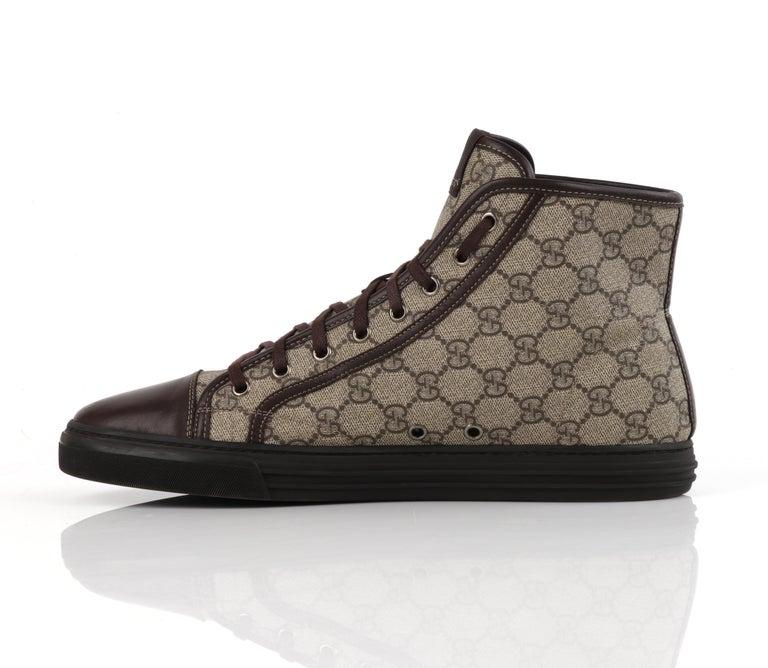 """Black GUCCI A/W 2012 """"California"""" GG Guccissima Monogram Canvas High Top Sneakers For Sale"""