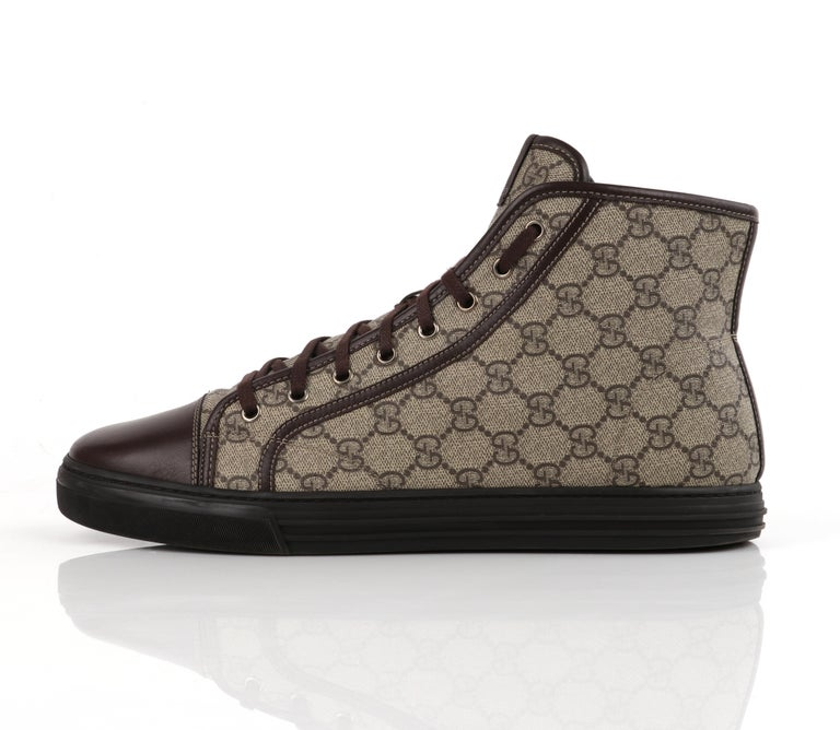 """GUCCI A/W 2012 """"California"""" GG Guccissima Monogram Canvas High Top Sneakers In Good Condition For Sale In Thiensville, WI"""
