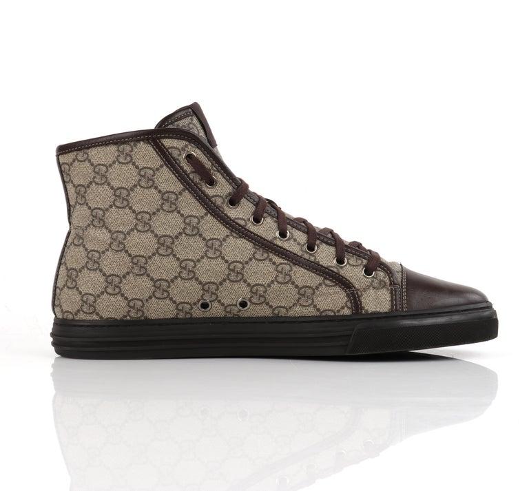 """Men's GUCCI A/W 2012 """"California"""" GG Guccissima Monogram Canvas High Top Sneakers For Sale"""