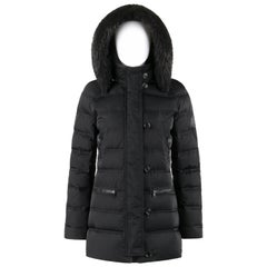 GUCCI A/W 2013 Black Channel Quilted Beaver Fur Trim Hooded Down Puffer Coat