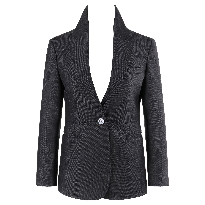 GUCCI A/W 2015 Steel Blue Single Button Closure Detachable Lapel Blazer Jacket
