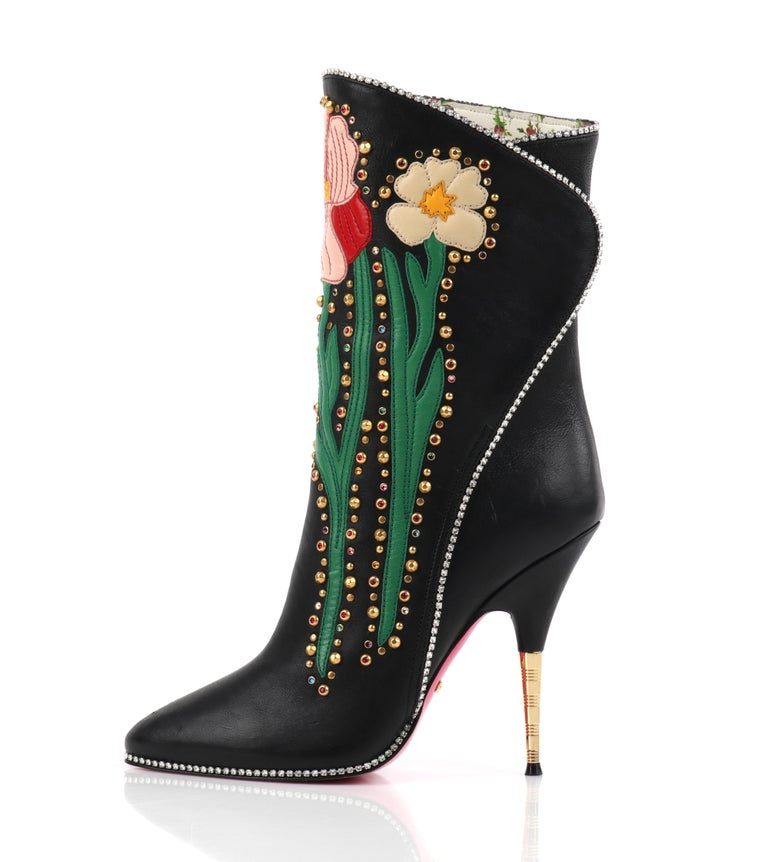 "GUCCI A/W 2017 ""Fosca"" Black Floral Applique Studded Crystal Leather Heels Boots For Sale 1"