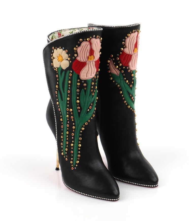"GUCCI A/W 2017 ""Fosca"" Black Floral Applique Studded Crystal Leather Heels Boots For Sale 3"