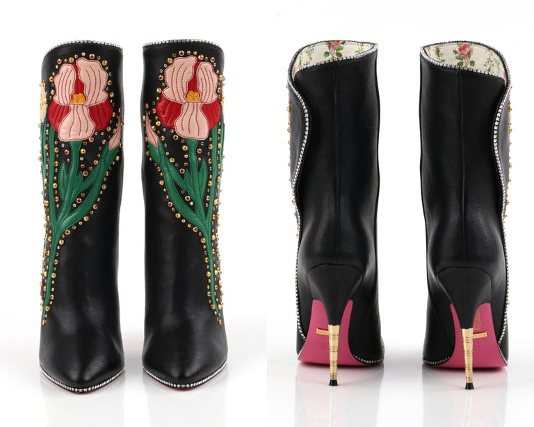 "GUCCI A/W 2017 ""Fosca"" Black Floral Applique Studded Crystal Leather Heels Boots For Sale 4"