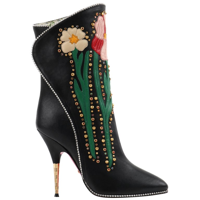 "GUCCI A/W 2017 ""Fosca"" Black Floral Applique Studded Crystal Leather Heels Boots For Sale"