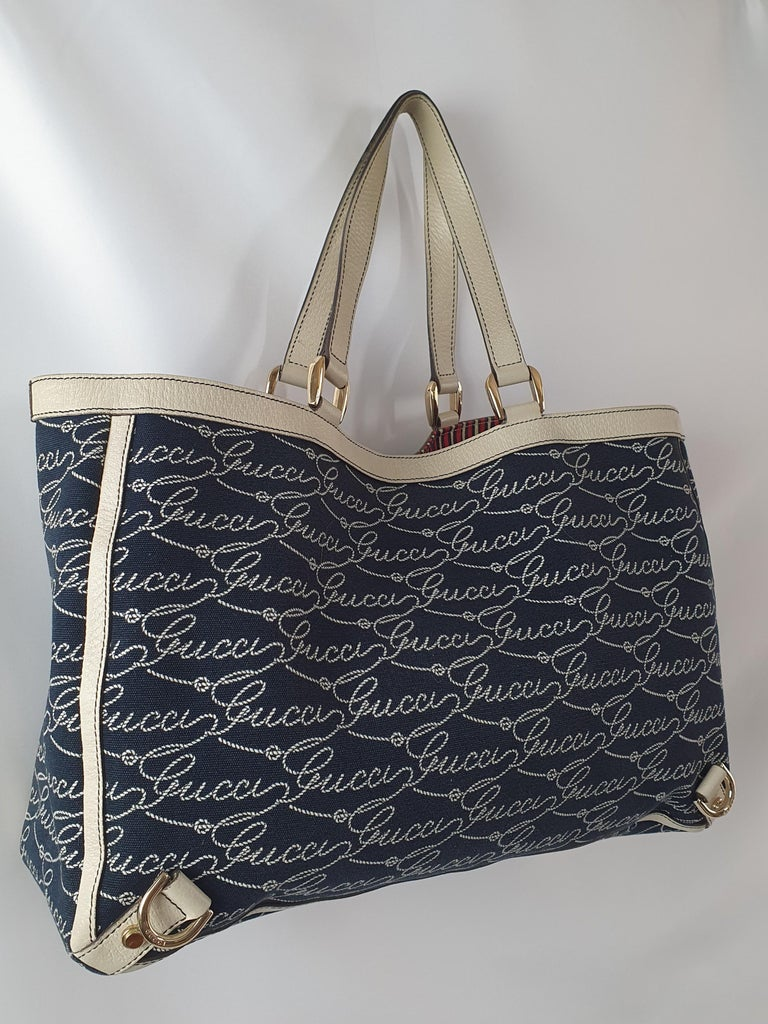 - Designer: GUCCI - Model: Abbey tote Vintage - Condition: Very good condition. Slight marks on interior, Sign of wear on handles - Accessories: None - Measurements: Width: 38cm , Height: 25cm - Exterior Material: Cloth - Exterior Color: Blue -
