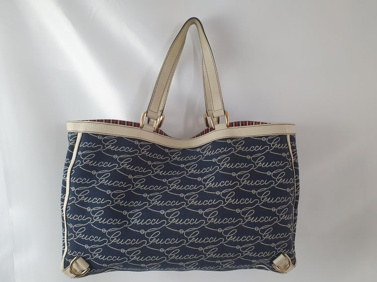 Black Gucci, Abbey tote Vintage in blue canvas For Sale