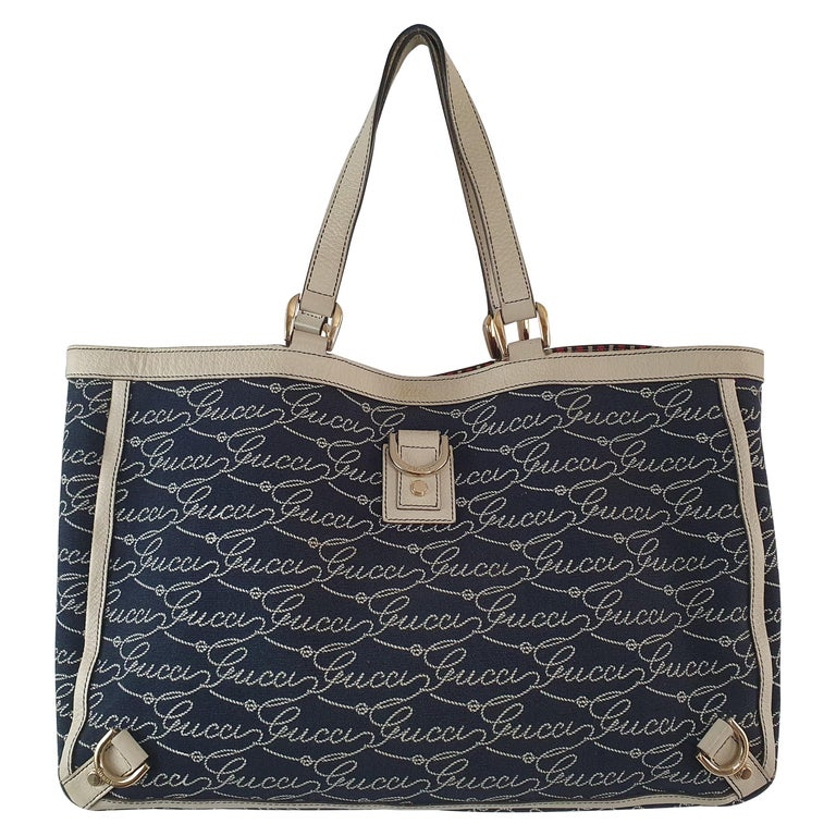 Gucci, Abbey tote Vintage in blue canvas For Sale