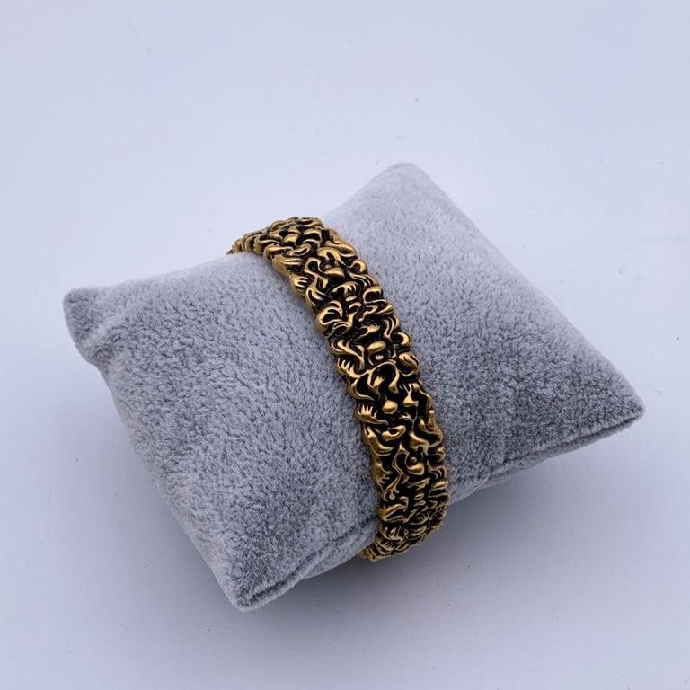 Women's Gucci Aged Gold Metal Lion Mane Bracelet Size S Never Worn For Sale
