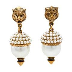 Gucci Aged Gold Tone Faux Pearl Feline Clip On Earrings