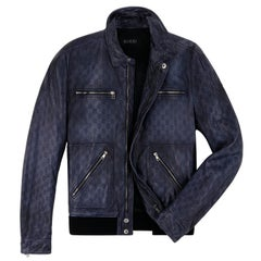 GUCCI Alessandro Michele GG Guccissima Blue Leather Embossed Bomber Jacket Coat