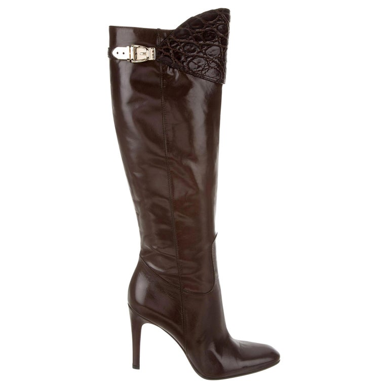 Gucci Alligator and Leather Boots Rare Fall Winter 2005 Sz 8 For Sale