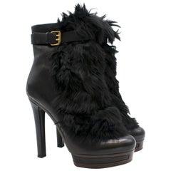 Gucci Alyona fur-panel platform ankle boots Size 40