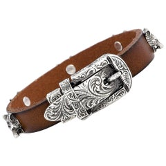 Gucci Anger Forest Aged Sterling Silver and Leather Wolf Heads Motif Bracelet
