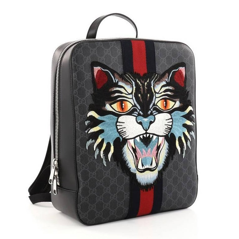 de2eecf954a8 Black Gucci Angry Cat Web Backpack GG Coated Canvas with Applique Medium  For Sale