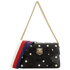 Gucci Animalier Broadway Bow Flap Bag Embellished Leather Mini