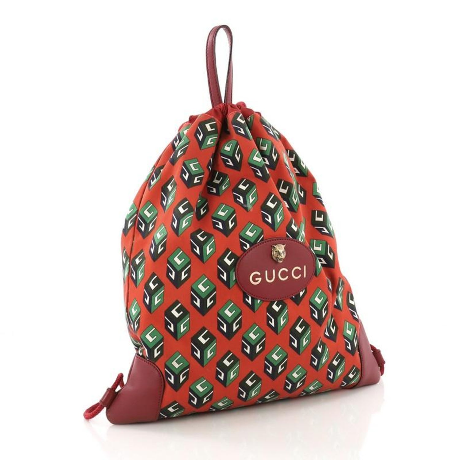 aef9292d8240 Gucci Animalier Drawstring Backpack Printed Canvas Large at 1stdibs
