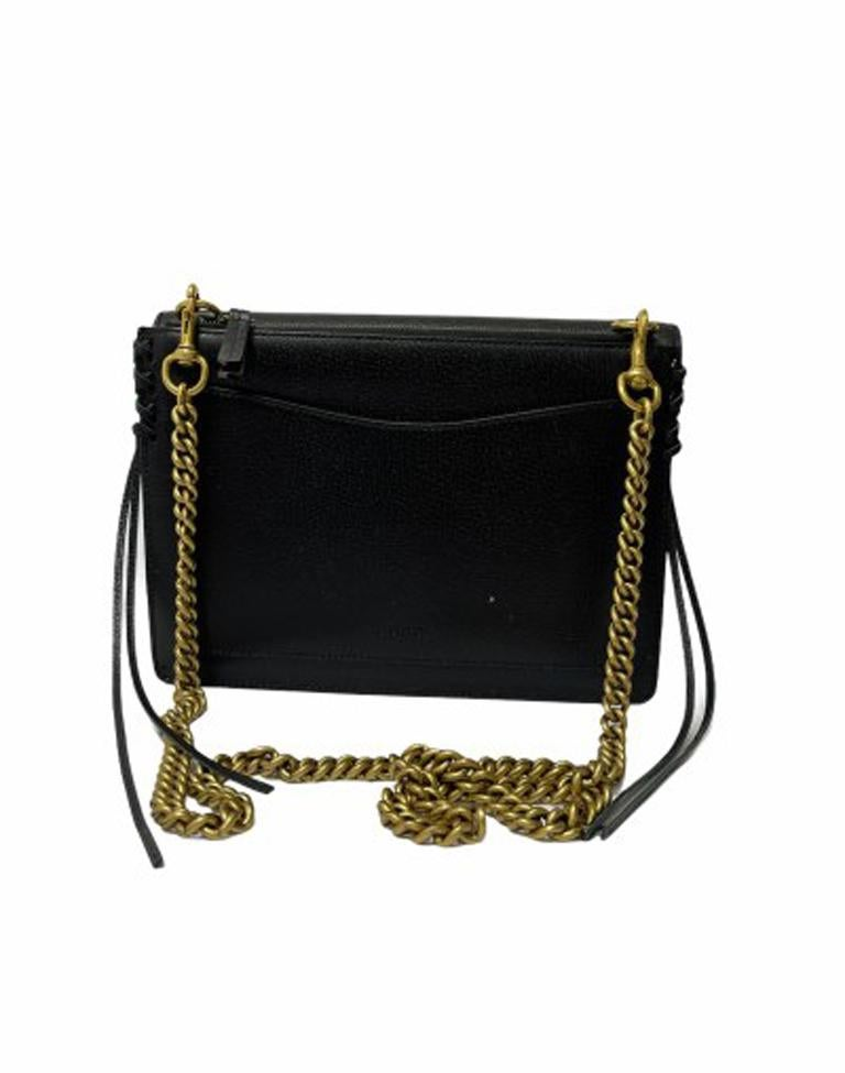 Gucci Animalier Shoulder Bag in Rigid Black Leather with Golden Hardware In Good Condition For Sale In Torre Del Greco, IT