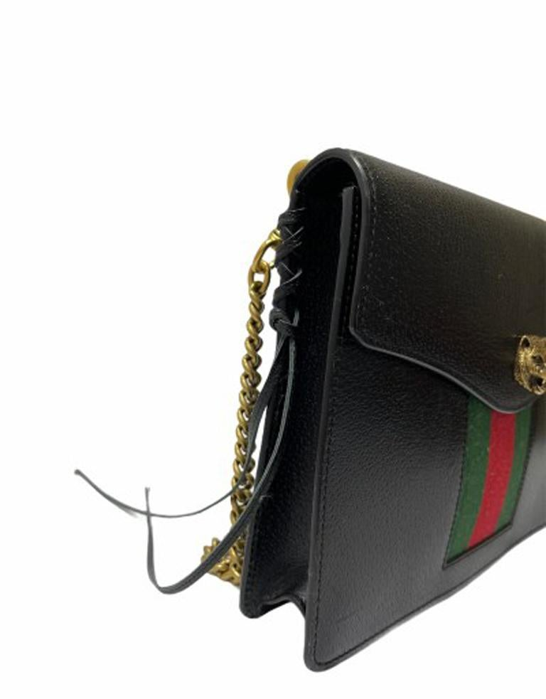 Women's Gucci Animalier Shoulder Bag in Rigid Black Leather with Golden Hardware For Sale