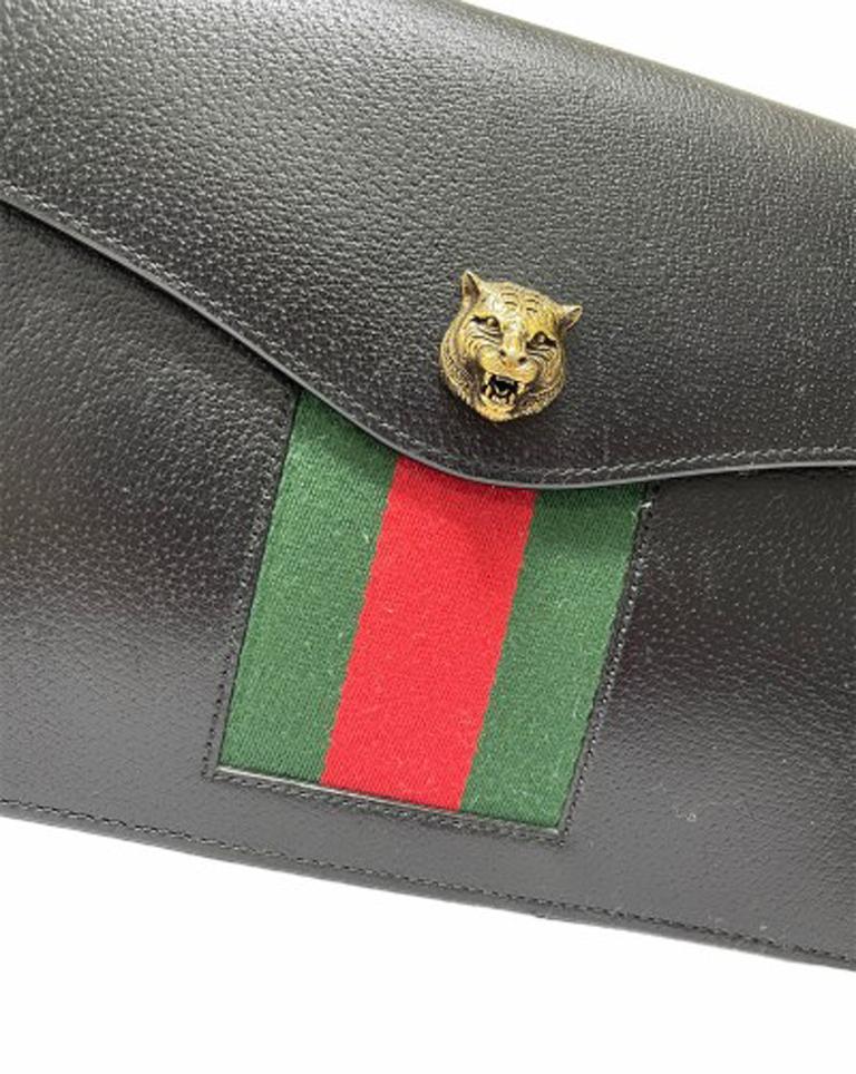 Gucci Animalier Shoulder Bag in Rigid Black Leather with Golden Hardware For Sale 1