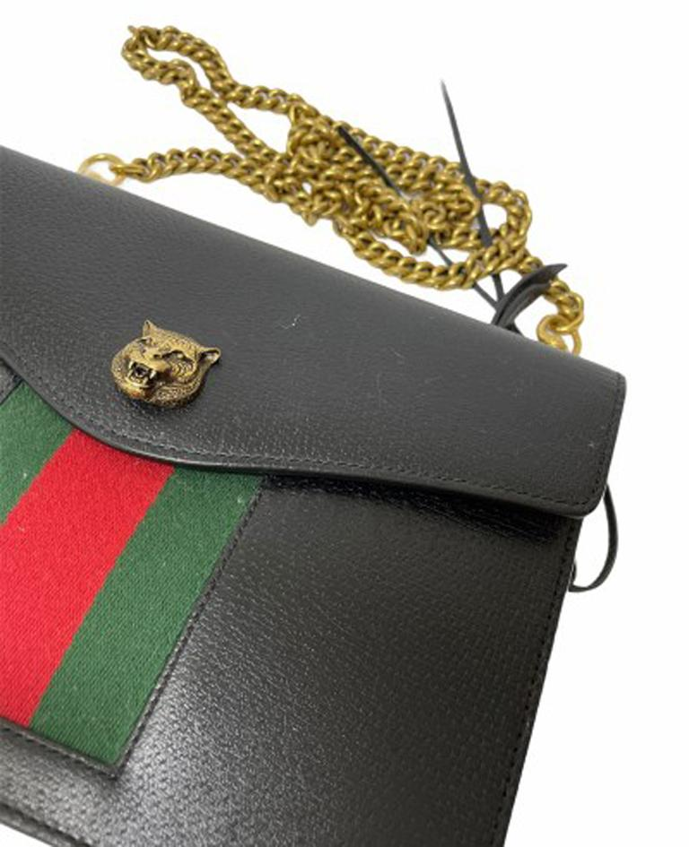 Gucci Animalier Shoulder Bag in Rigid Black Leather with Golden Hardware For Sale 3