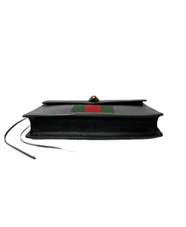 Gucci Animalier Shoulder Bag in Rigid Black Leather with Golden Hardware For Sale 4