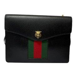 Gucci Animalier Shoulder Bag in Rigid Black Leather with Golden Hardware