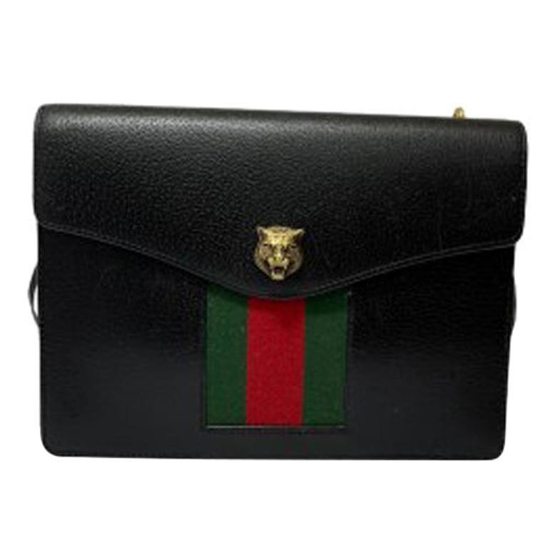 Gucci Animalier Shoulder Bag in Rigid Black Leather with Golden Hardware For Sale