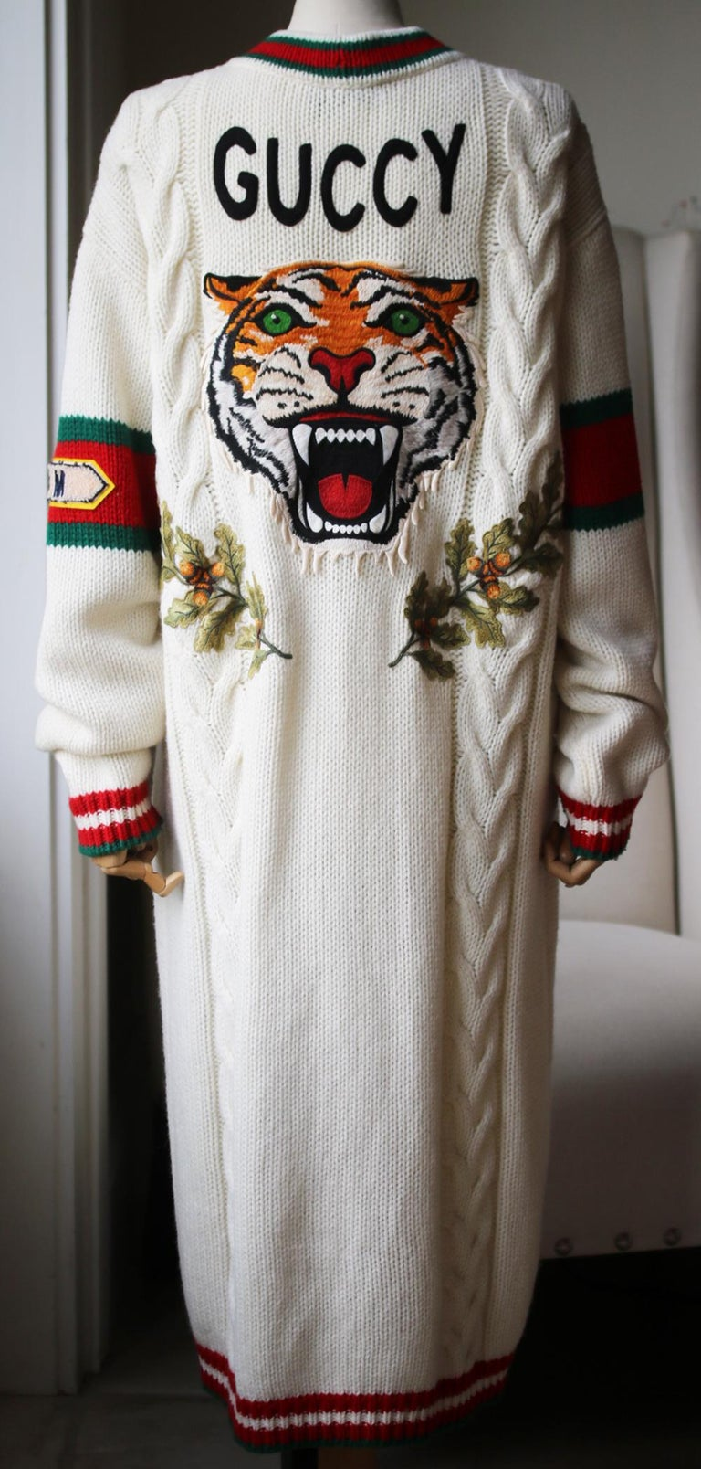 Gucci Appliquéd Cable-Knit Wool Cardigan In Excellent Condition In London, GB