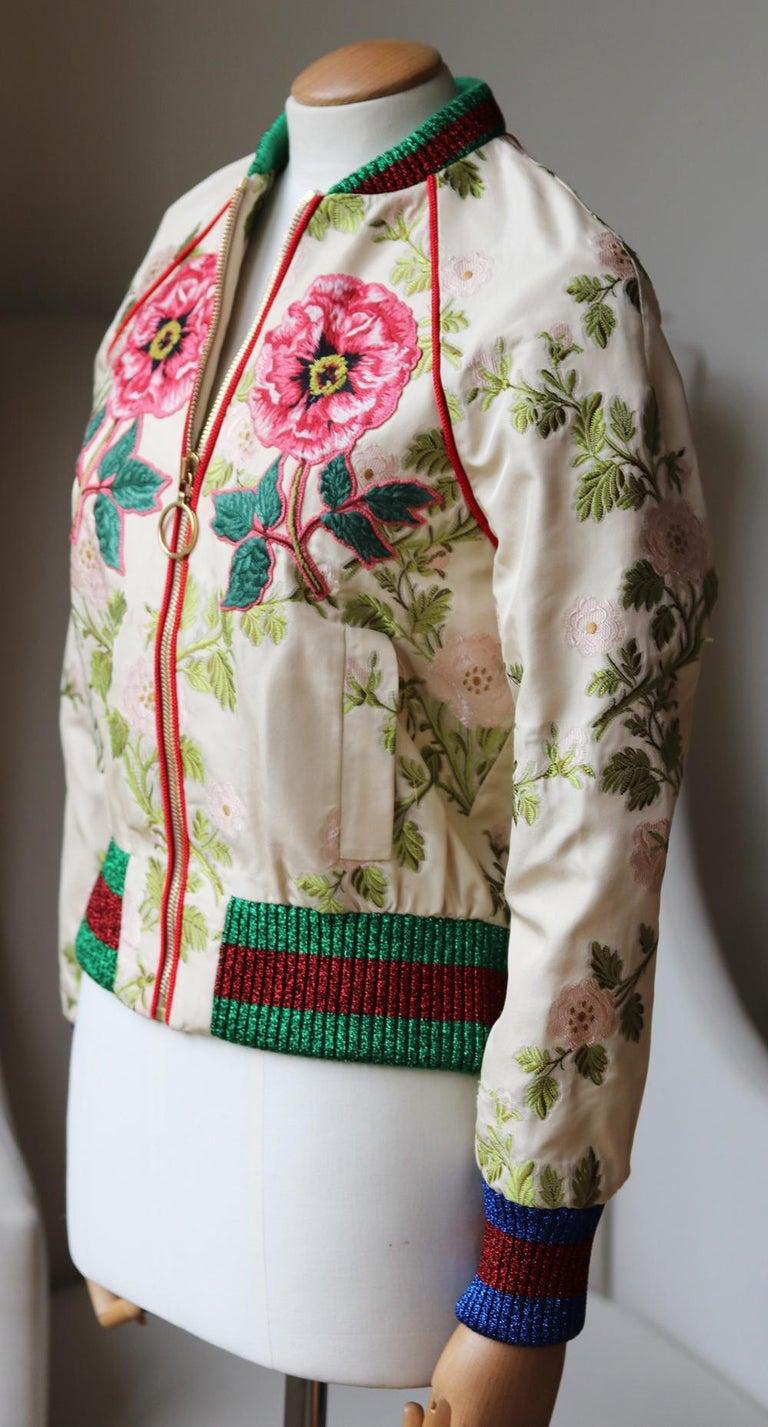 Beige Gucci Appliquéd Floral Brocade Bomber Jacket  For Sale