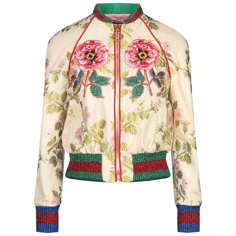 Gucci Appliquéd Floral Brocade Bomber Jacket  For Sale