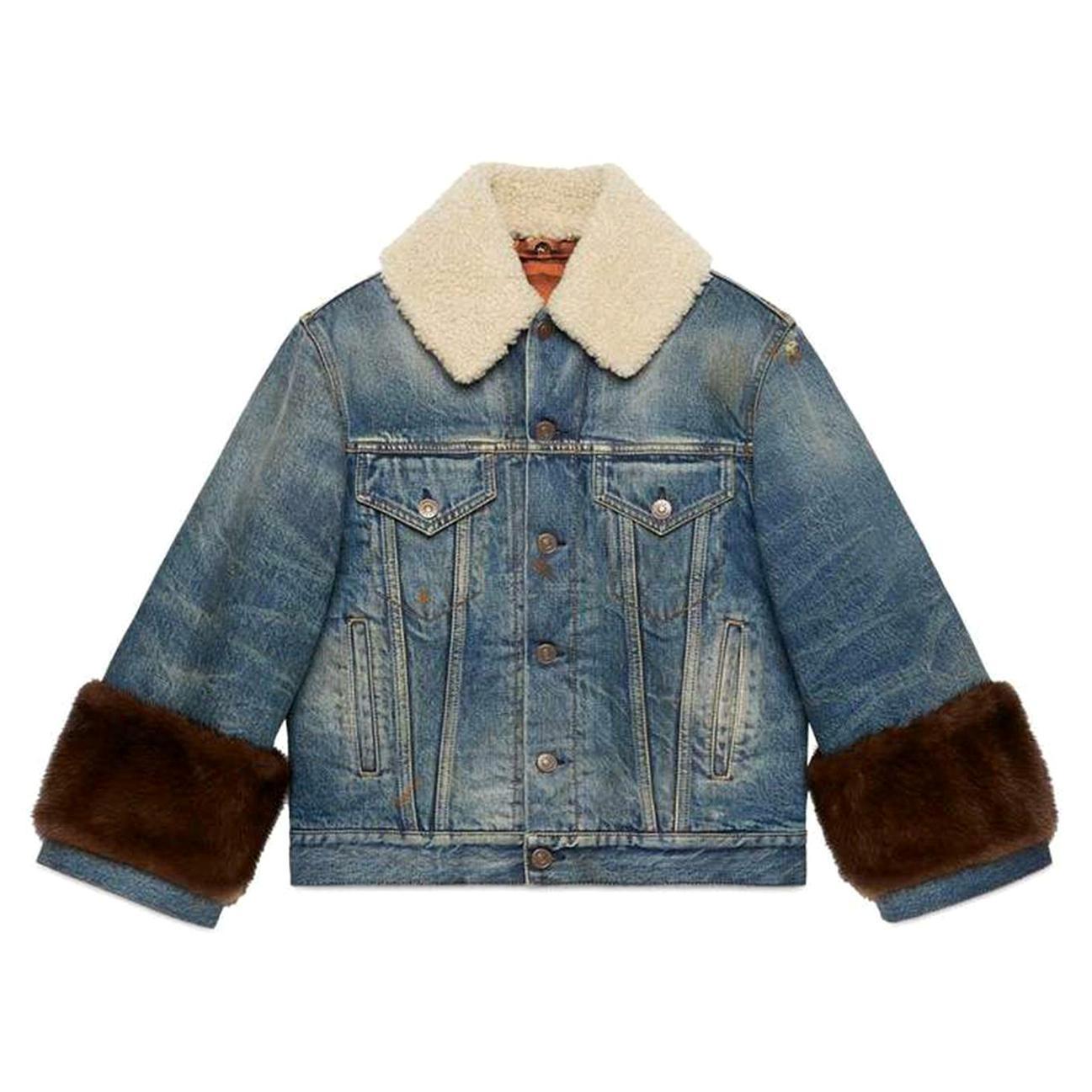 Gucci Appliquéd Mink and Shearling-Trimmed Denim Jacket