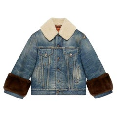 Gucci Appliquéd Mink and Shearling-Trimmed Denim Jacket