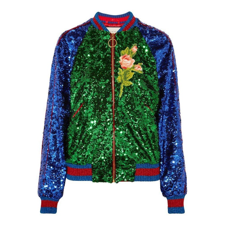GUCCI Appliquéd Sequinned Tulle and Satin Bomber Jacket IT38 US 2-4 For Sale