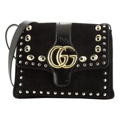 Gucci Arli Shoulder Bag Studded Suede with Python Medium